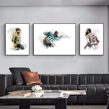 Canvas Prints Painting Abstract Sportman Wall Art Watercolour Figure Poster Decorative Picture for Live Room Home Decor Cuadros image