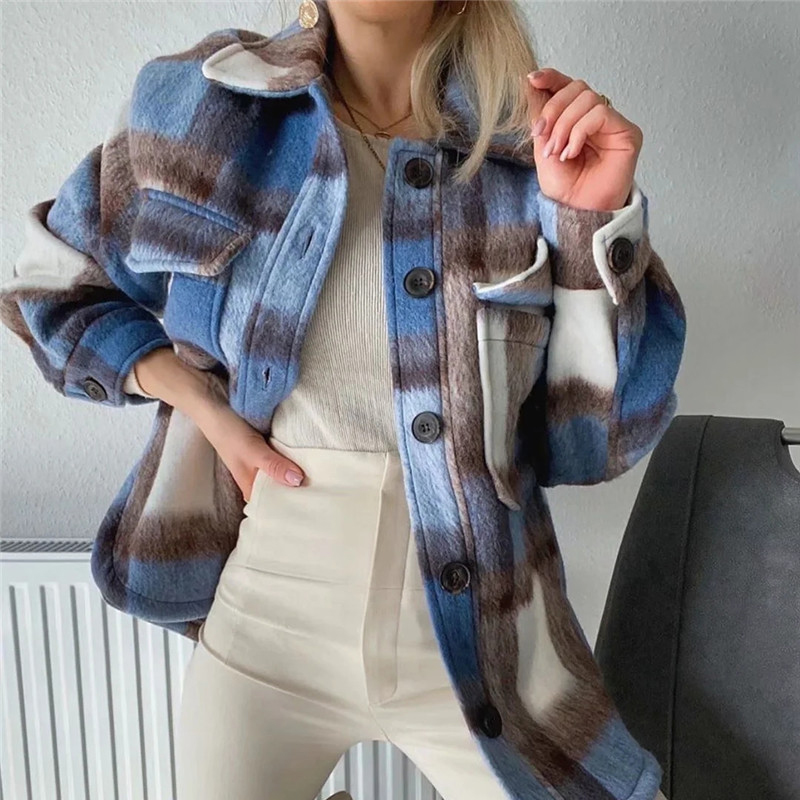 2020 Women Casual Plaid Blue Bsk Cotton Long Jacket Female New Spring Fashion Single Breasted Loose Shirt Outwear Double Pocket