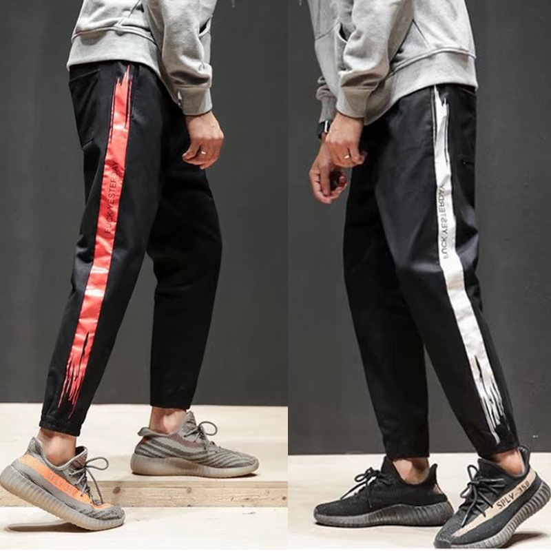 Summer New Products Male STUDENT'S Casual Beam Leg Athletic Pants Lace-up Loose Harem Pants Teenager Capri Pants