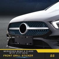 Auto przedni grill naklejka pokrywa osłonowa akcesoria do mersedes benz A klasa W177 V177 2019 w Naklejki samochodowe od Samochody i motocykle na