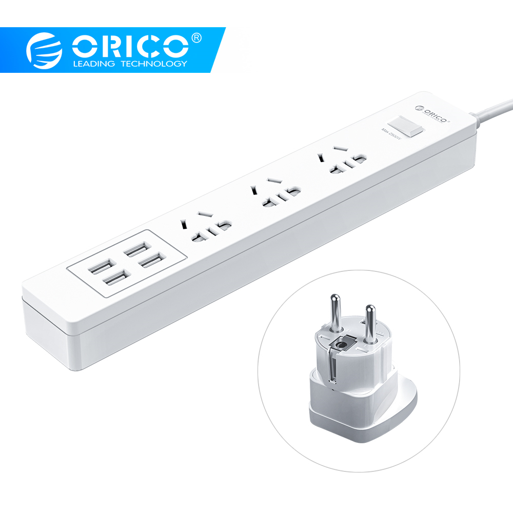 Orico Power Strip 1.5m(4.9ft) Cable Socket Standard Plug 250V 2500W 4 USB Port 5V 2.4A With EU Extension Travel Plug Adapter