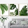 Скандинавский стиль, зеленые тропические листья, Настенная живопись на холсте, растения, скандинавские постеры и принты, настенные картины ...