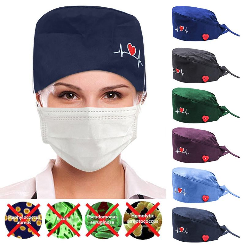 Solid Color Women ECG Pattern Surgical Cap With Buttons Lace-up Scrub Bouffant Hat For Doctor Nurse Headwear Clothing Accessorie