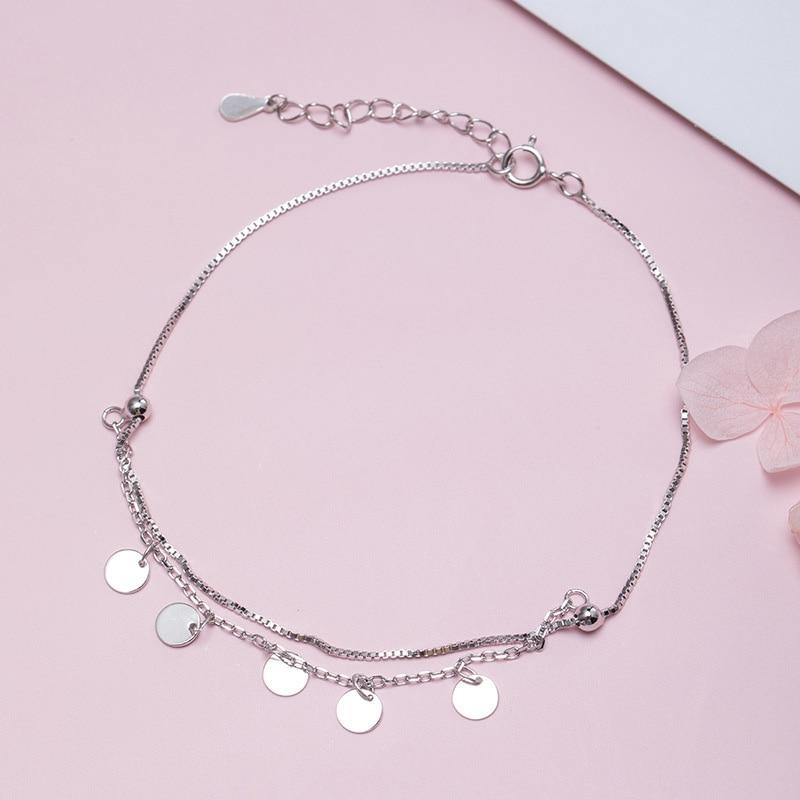 Silver 925 Leg Bracelet Tassel Round Charm Anklet Bracelets Link Chain Anklet Bracelets For Women Wedding Jewelry Tobilleras 925