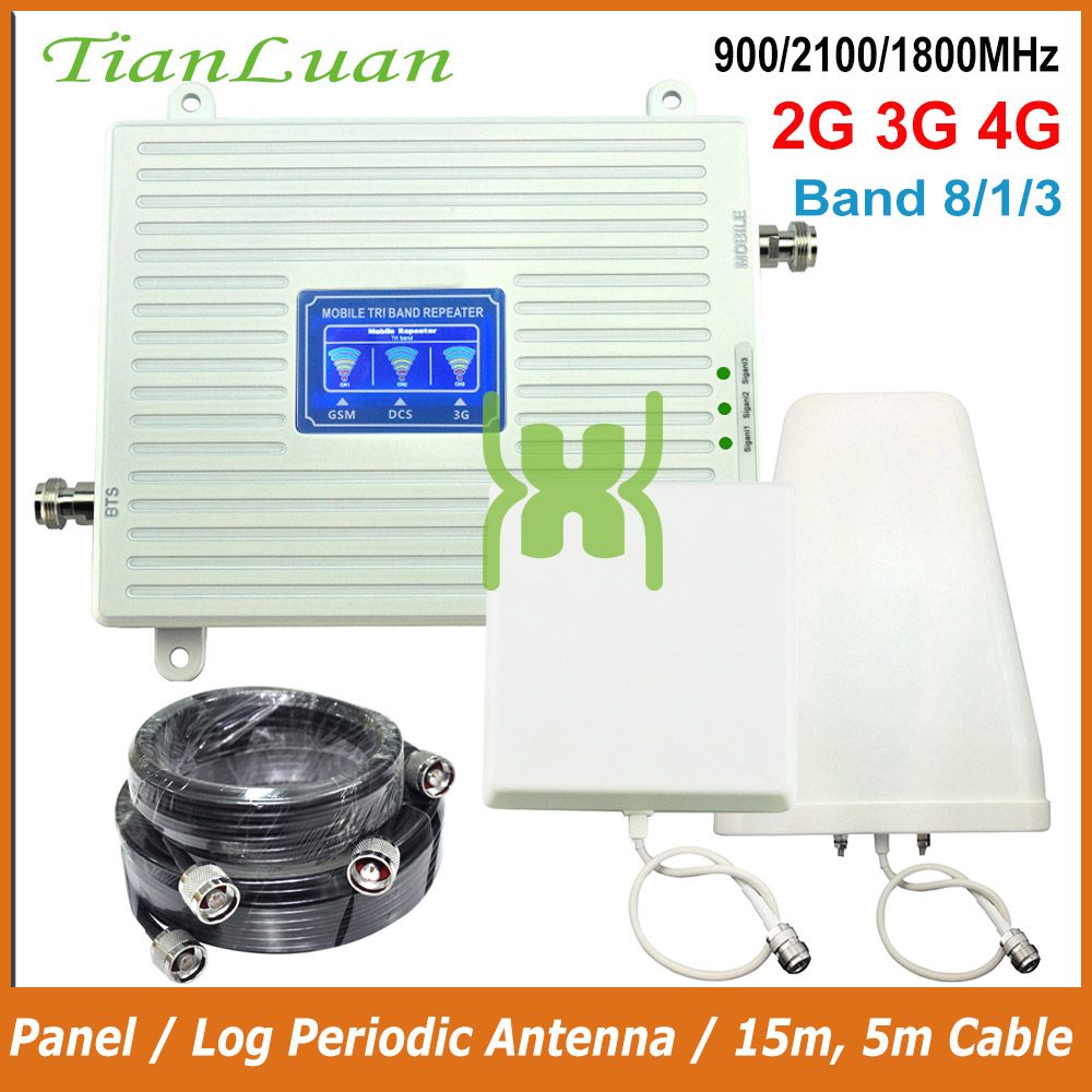 2G GSM 900MHz DCS 4G LTE 1800MHz 3G W-CDMA 2100MHz Cell Phone Signal Booster 2G 3G 4G Repeater With Panel / Log Periodic Antenna