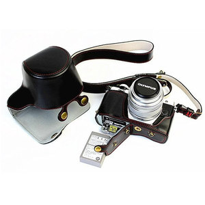 Image 5 - Custodia in pelle di lusso per Olympus EM10 II EM10 III E M10 Mark II Mark III 14 42mm apertura della batteria dellobiettivo con cinturino per fotocamera