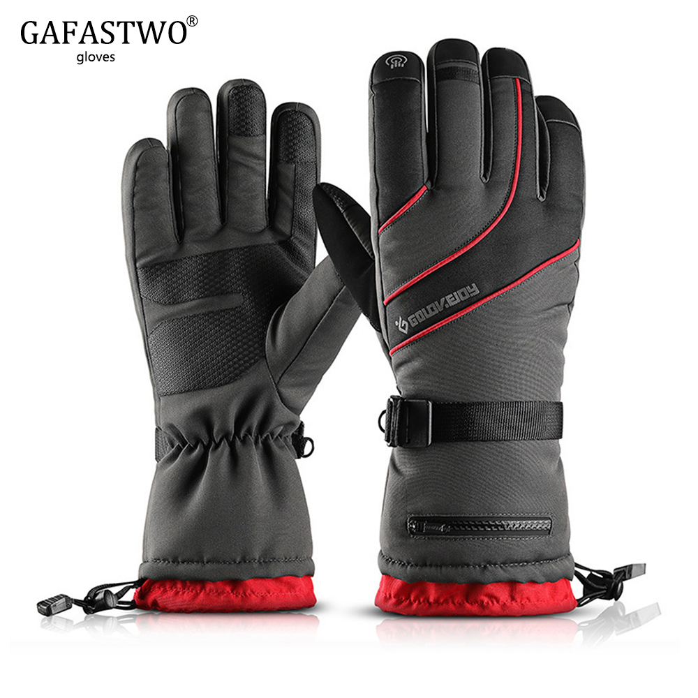 Mens Winter Ski Gloves Four Layers Waterproof And Velvet Warm Touch Screen Gloves Ladies Outdoor Riding Non-Slip Pocket Gloves