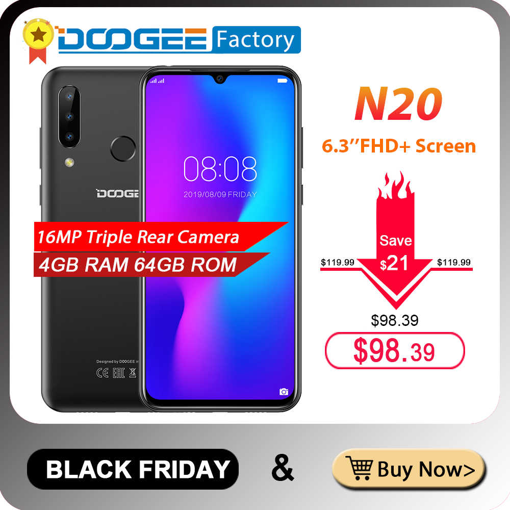 هاتف DOOGEE N20 بكاميرا خلفية ثلاثية بدقة 16 ميجابكسل هاتف محمول بشاشة 6.3 بوصة فائق الوضوح + شاشة 4 جيجابايت 64 جيجابايت MT6763 ثماني النواة 4350 مللي أمبير في الساعة هاتف خلوي LTE