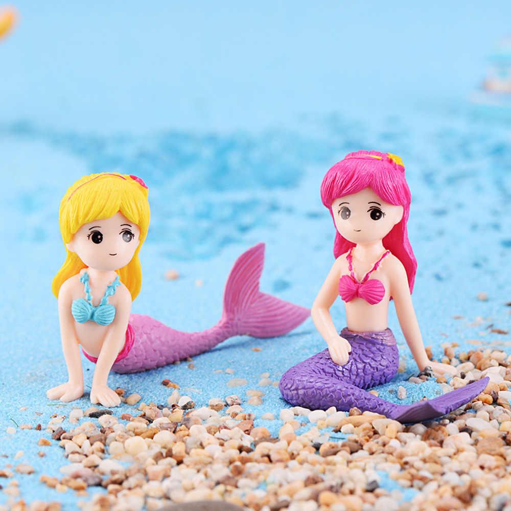 1PC เรซิ่น Miniature Mermaid Figurines Micro Landscape เค้ก Dollhouse Fairy Garden บ้านเจ้าหญิง Decor