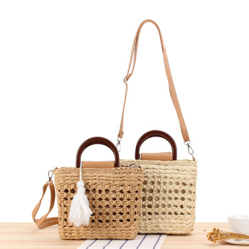 Summer New Hand-woven Womens Bag Small Fresh Hand Carry Cross-body Dual-use Woven Tassel Ins Leisure Vacation Straw