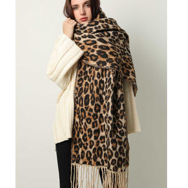 Design inverno grosso cachecol para as mulheres cobertor borla senhora xales e envoltório animal leopardo impressão caxemira cachecóis pashmina foulard