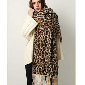 Image 2 - Design winter thick scarf for women blanket tassel lady shawls and wrap animal leopard print cashmere scarves pashmina foulard