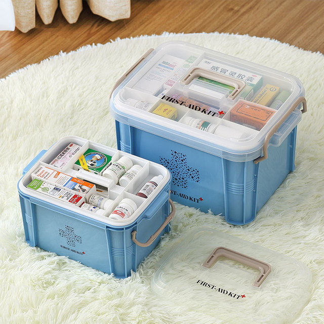 Plastic First Aid Kit Box Storage Bins Large Multi-layer Container for Home Storage organizer
