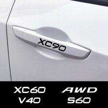 For Volvo S60 XC90 V40 V50 V60 S90 V90 XC60 XC40 AWD T6 C30 C70 S80 V70 XC70 Auto Trim Decals Car Door Handle Stickers