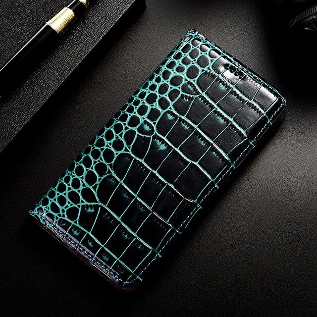Étui en cuir véritable Crocodile pour lame ZTE A450 A452 A475 A506 A510 A512 A522 A602 A603 A610 A910 Plus housse de téléphone portable