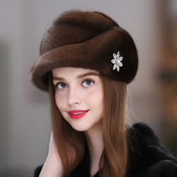 New Winter Warm Mink Hat Women's Whole Mink Fur Winter Fur Hat Children's Mink Fur Earmuff Hat