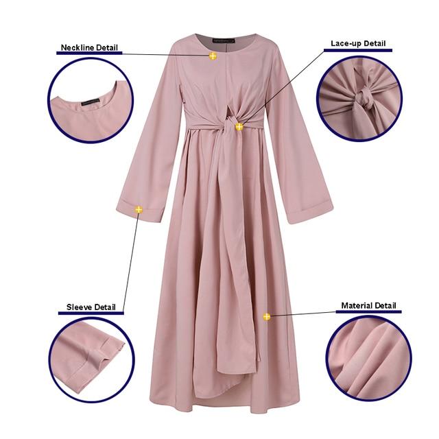 ZANZEA Muslim Dresses Eid Mubarak Kaftan Dubai Abaya Turkey Fashion Hijab Dress Islam Clothing Maxi Sundress For Women Vestidos 6