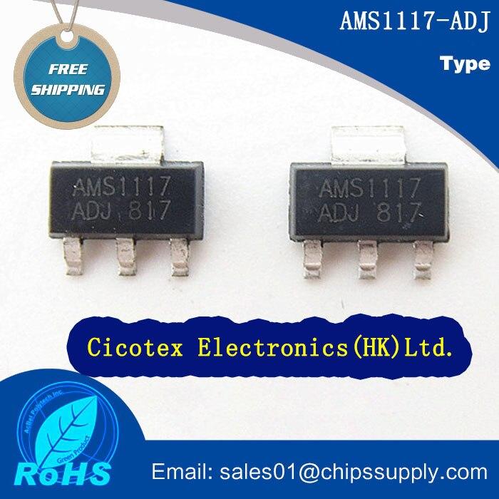 50pcs/lot AMS1117-ADJ SOT223 0.8A ADJUSTABLE/FIXED LOW DROPOUT LINEAR REGULATOR AMS1117ADJ 1117