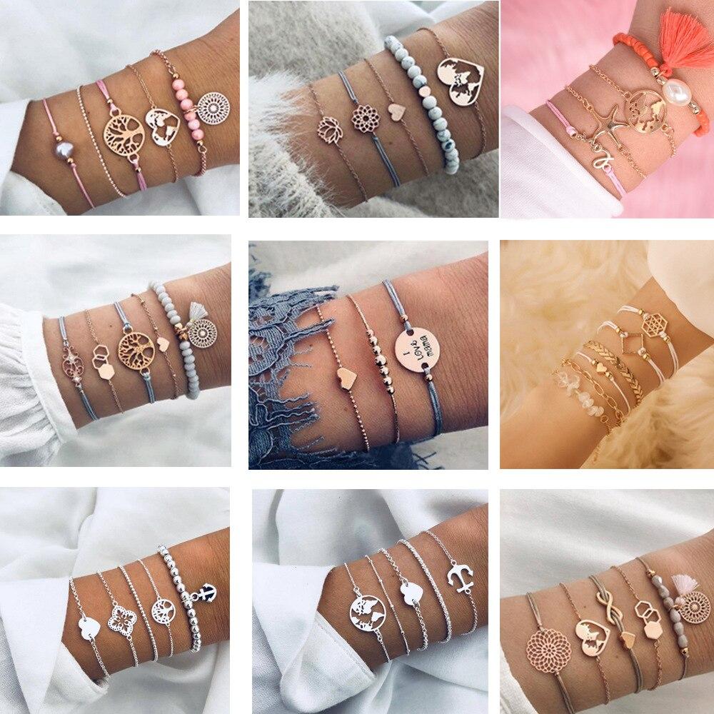 4 peças/set siver rosa ouro amor cristal oco lótus borla folha metal corrente pulseira para mulher