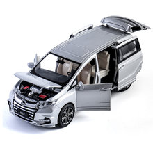 1/32 honda odyssey liga morre molde modelo de carro brinquedo simulação som luz puxar para trás mpv brinquedos veículo