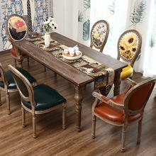 8000 Rmdining Chair American Style Casual European Restaurant Hotel Solid Wood Backrest Chair Retro Old Fabric Armchair