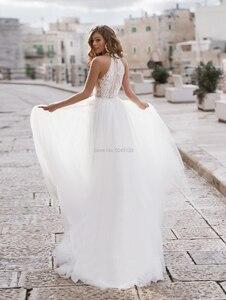 Image 2 - Свадебное платье из мягкого тюля с лямкой через шею 2020 кружевное платье с аппликацией бисером и поясом без рукавов длиной до пола турецкие свадебные платья