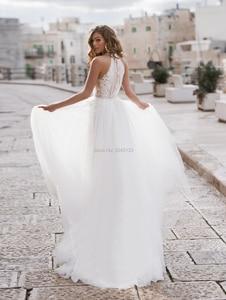 Image 2 - Halfter EINE Linie Weicher Tüll Hochzeit Kleider 2020 Innen Spitze Appliques Perlen Sash Ärmellose Bodenlangen Türkei Brautkleider