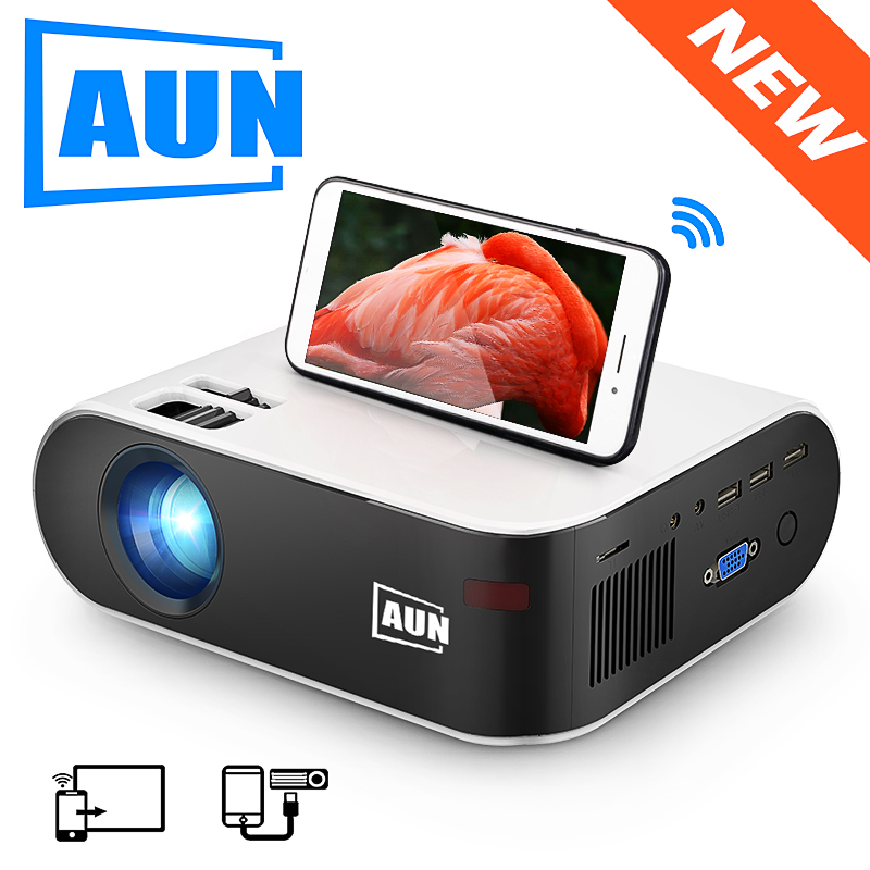 AUN MINI Projector W18, 2800 Lumens, 854x480P, Optional Wireless Sync Display For Phone (W18C), Customize Your Special Proyector