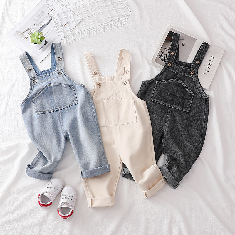 Baby Denim Pants Boys Girls Casual Straight Pants Baby Girl Clothes Infant Jeans Trousers Overalls Cute Jumpsuits Bib Pants