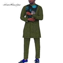 2020 New African Stampa Dashiki Uomini casual Top a manica lunga Camicette e Pantaloni Pant Set Più Il Formato Africano Uomini Vestiti WYN805