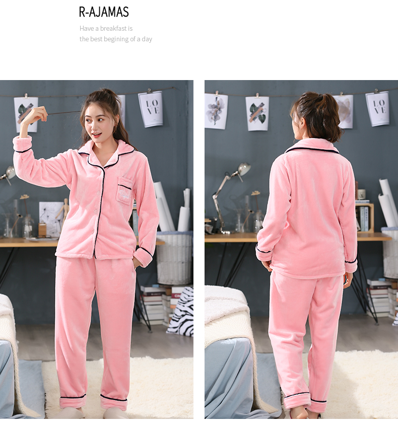 Plus Size 3XL 4XL 5XL Pyjamas women winter new Korean kawaii pink coral fleece warm pajama set thick flannel pijama home service 192