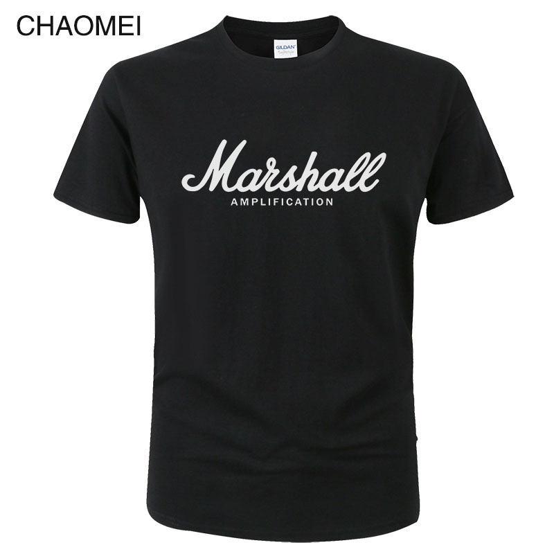Marshall T Shirt Logo Amps Amplification Guitar Hero Hard Rock Cafe Music Tops Tee Shirts For Men Fashion Harajuku T-shirts C122