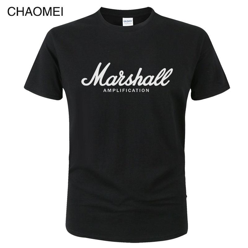 Marshall T Shirt Logo Amps Amplification Guitar Hero Hard Rock Cafe Music Tops Tee Shirts For Men Fashion Harajuku T-shirts C122