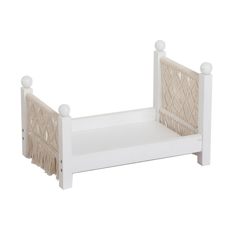 Newborn Posing Mini Bed Baby Photo Shooting Props Cotton Rope Weave Wooden Crib Infant Photograph Accessories