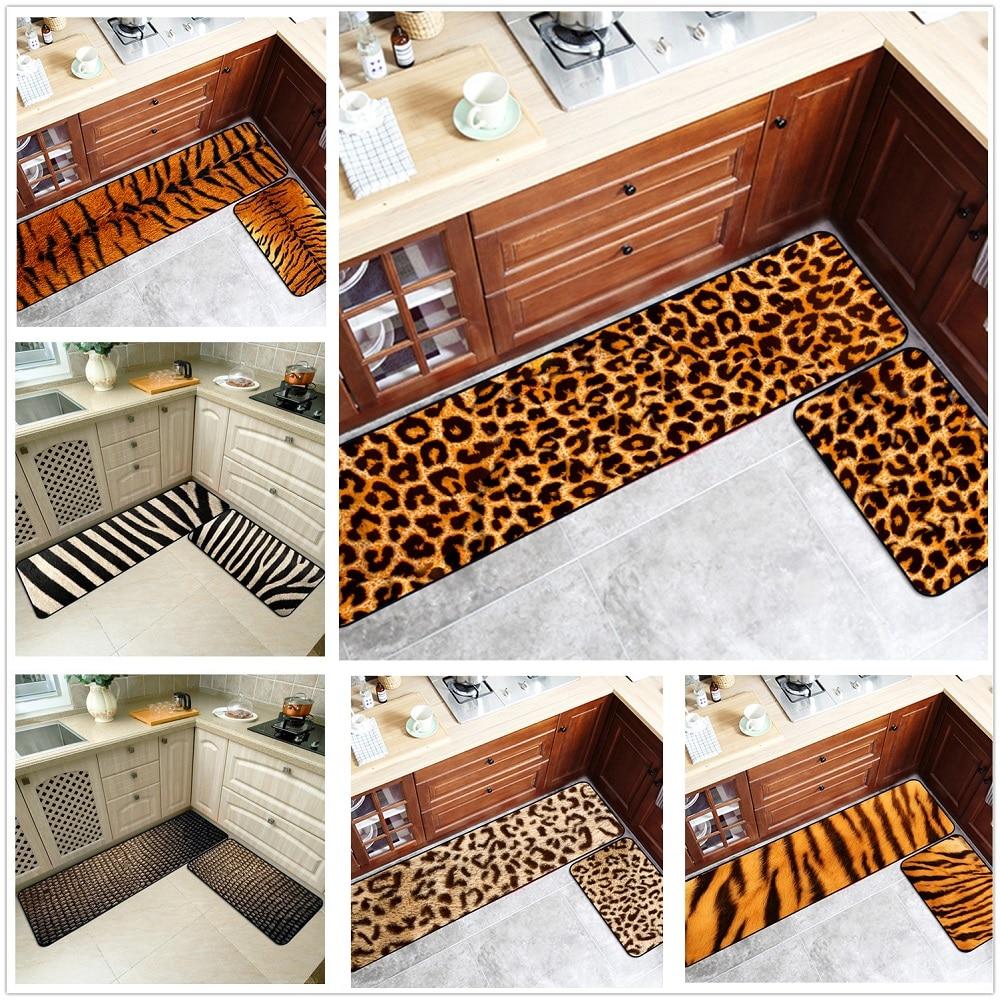 3D Leopard Print Long Kitchen Mat Bath Carpet Home Entrance Doormat Tapete Bedroom Living Room Floor Mats Modern Kitchen Rug