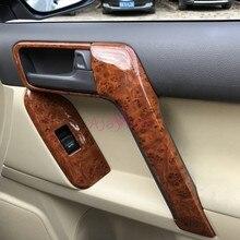 цена на For Toyota Land Cruiser Prado FJ150 2010-2018 Interior Wooden Door Armrest Holder Handle Cover Car Styling Prado Accessories