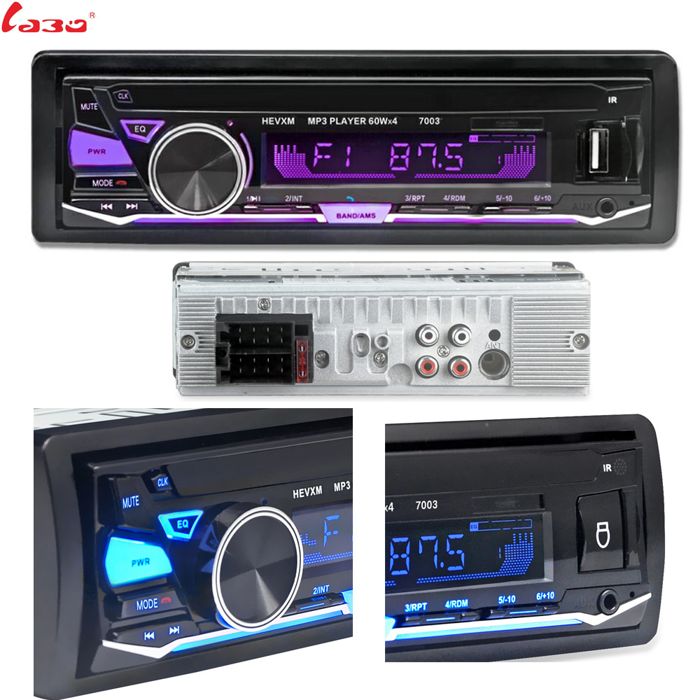 LaBo 12V Bluetooth Car Radio Player Stereo FM MP3 Audio 5V-Charger USB SD MMC AUX Auto Electronics In-Dash Autoradio 1 DIN NO CD image
