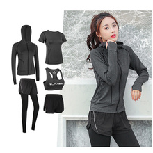 5-piece yoga fitness suit ladies sports running clothes fast dry elastic waist training vest