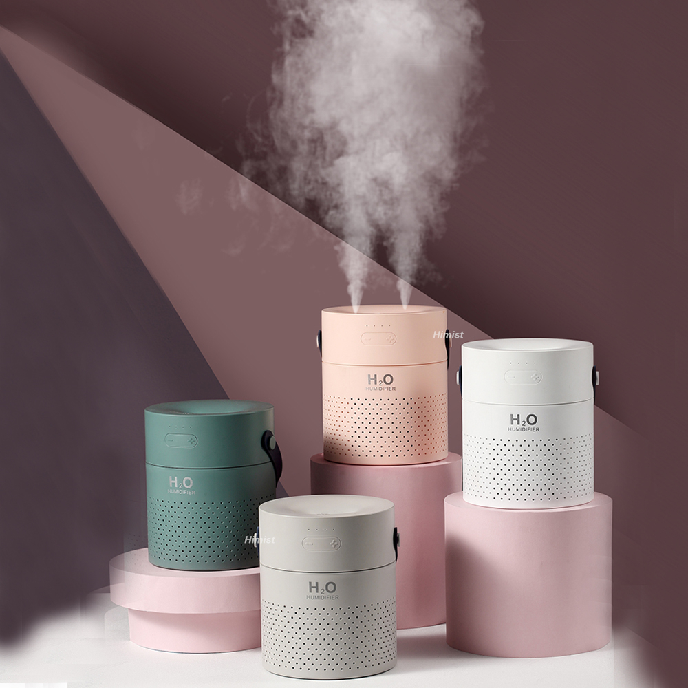1.1L Large Capacity Air Humidifier Dual Spray 4000mAh USB Rechargeable Wireless Ultrasonic Aroma Diffuser Color Light Fogger