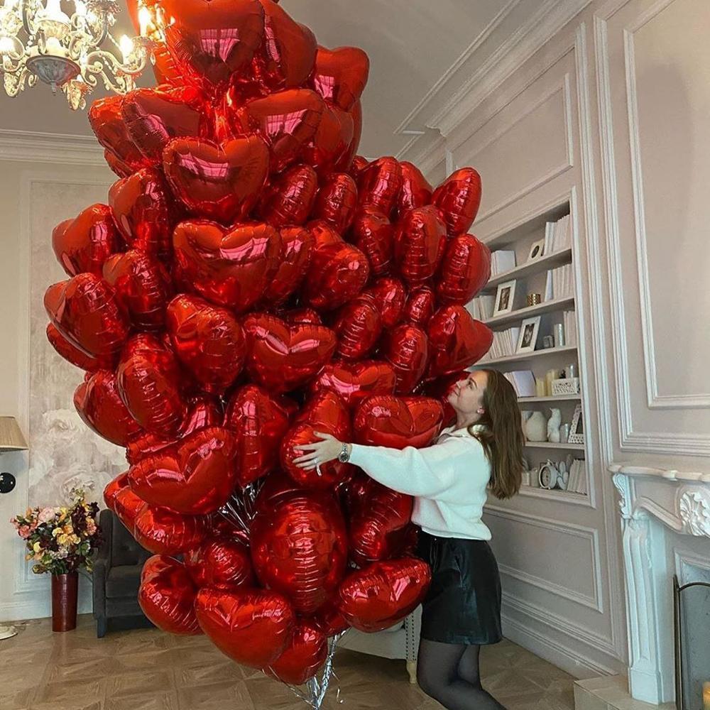 10 шт. на День святого Валентина, 18 дюймов красная роза золотое любовное сердце Форма Фольга шарики Свадебные украшения для девочек воздушны...