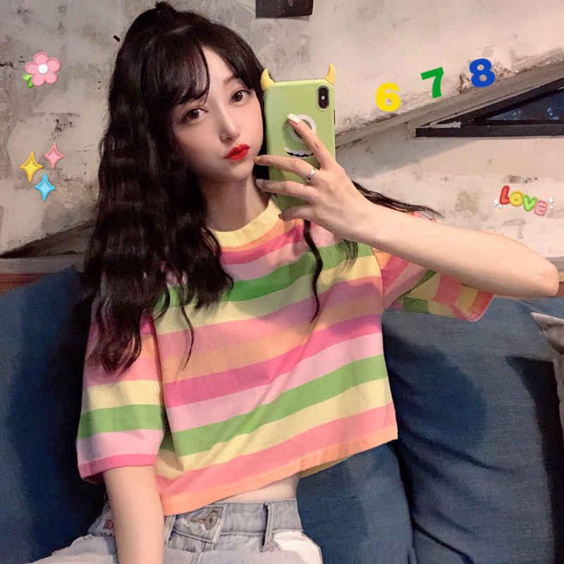 2020 เสื้อใหม่ผู้หญิงสายรุ้งลายเสื้อ Harajuku TShirt ฤดูร้อนแขนสั้นสไตล์เกาหลี Punk เสื้อยืด BONJEAN