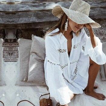 Women Swimsuit Cover Ups Mandarin Sleeve Kaftan Beach Tunic Dress Robe De Plage Solid White Pareo Beach Cover-ups  #Q429