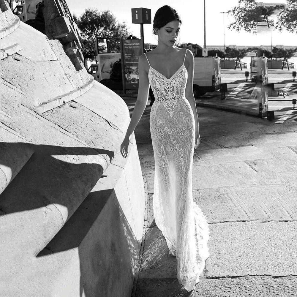 Lace Mermaid Wedding Dress 2020 New Vestidos De Novia Spaghetti Straps Lace Sexy Bridal Gown Elegant Backless Wedding Gowns