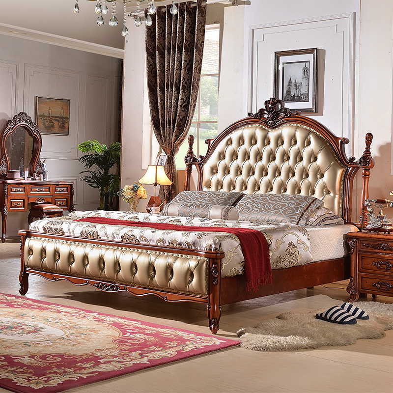 European bed double bed 1.8 meters all solid wood master bedroom European wedding bed factory direct European style