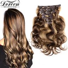 Extensions Doreen Human-Hair Clip-In Body-Wave Remy Natural 240g 260g 280g Machine-Made