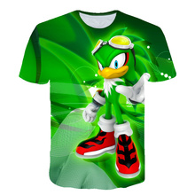 Children T shirts Boys Clothing Cartoon Game Green Sonic Boys Clothes Kids O-Neck T-shirt Summer Clothes For Girls Unisex 12 Y