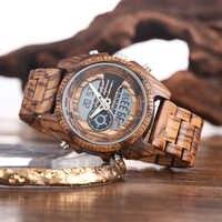 Reloj Digital de madera Shifenmei para Hombre, cronógrafo automático militar con reloj de pulsera, Relojes de doble pantalla para Hombre 2019, Relojes luminosos para Hombre