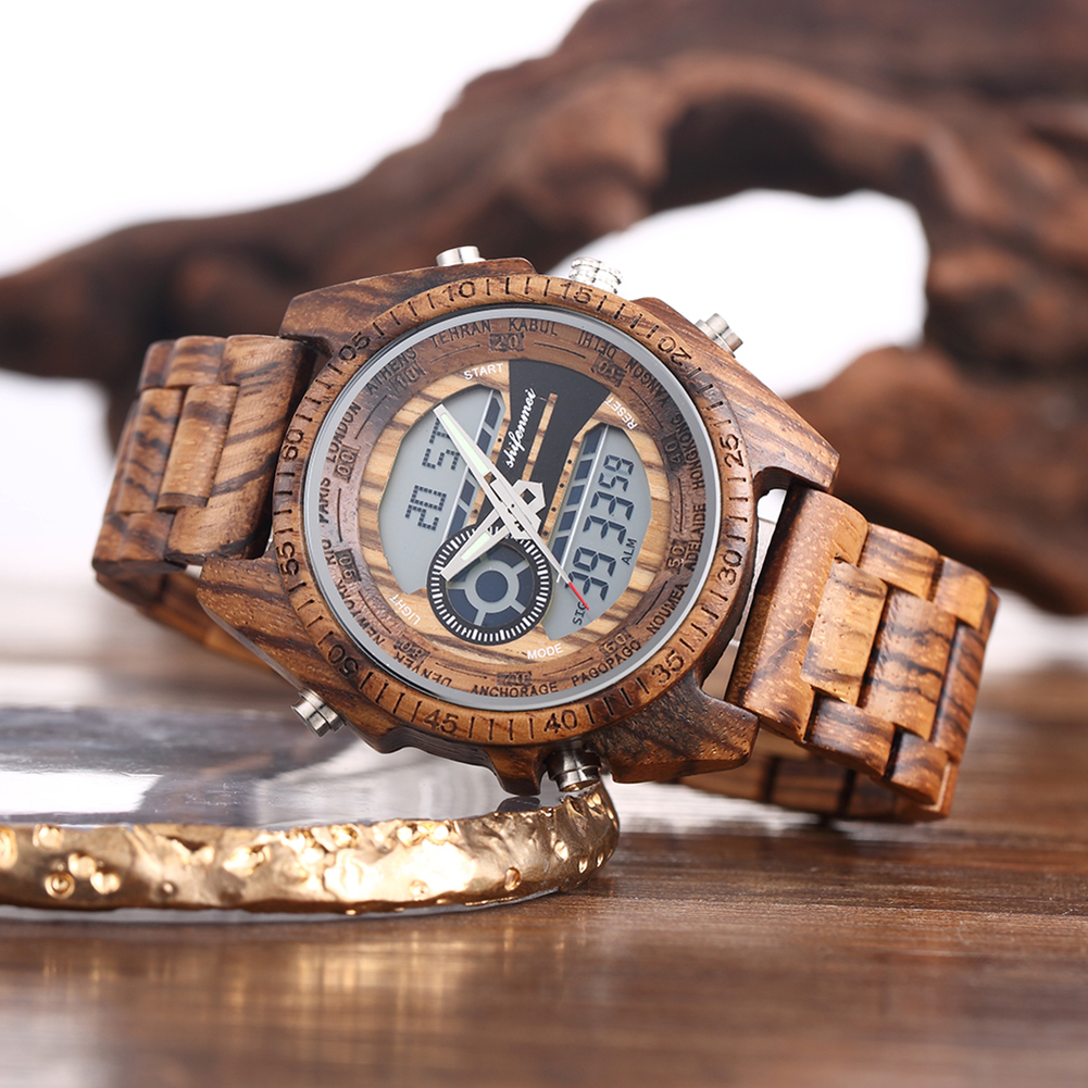 Shifenmei Digital Wood Watch for Men Auto Chronograph Military Wristwatch 2019 Male Dual Display Watches Luminous Relojes Hombre