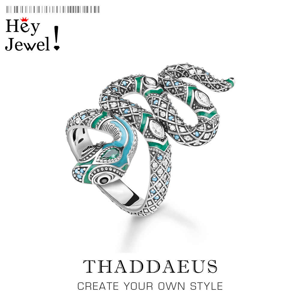 Open-end Blue Snake Pave Ring,Thomas Myth Jungle Bohemia Fashion Good Jewerly For Women,2020 New Ts Gift In 925 Sterling Silver