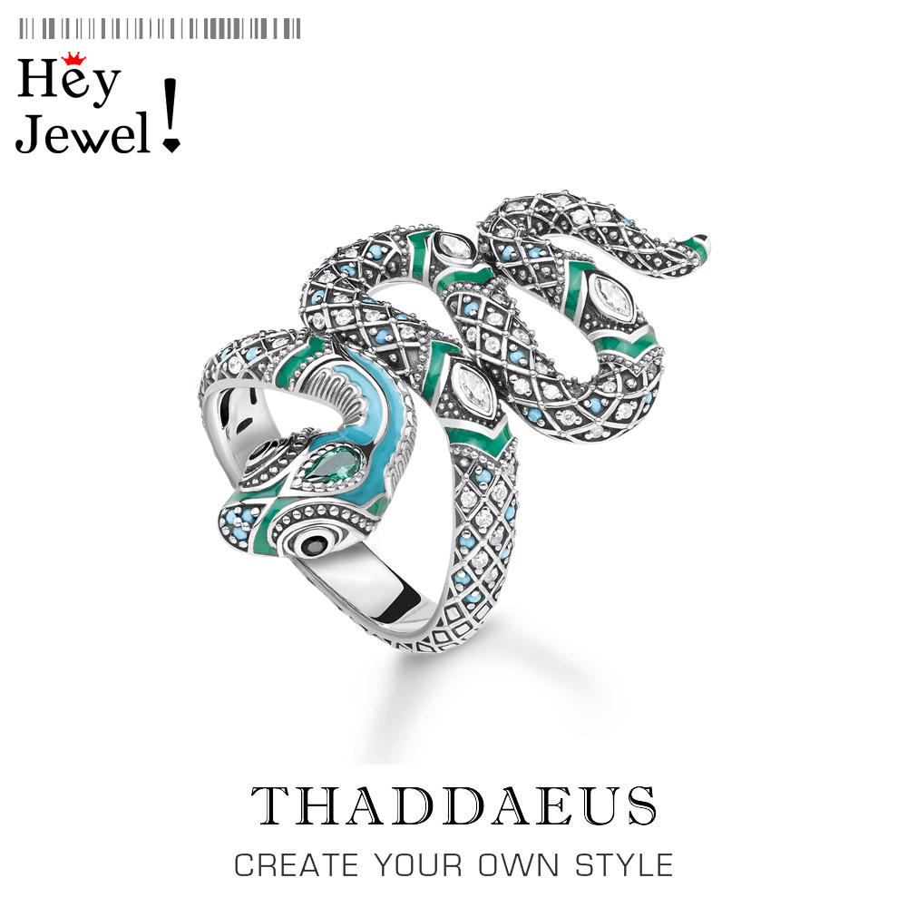 Open-end Blue Snake Pave Ring,Thomas Myth Jungle Bohemia Fashion Good Jewerly For Women,2020 New Ts Gift In 925 Sterling Silver(China)